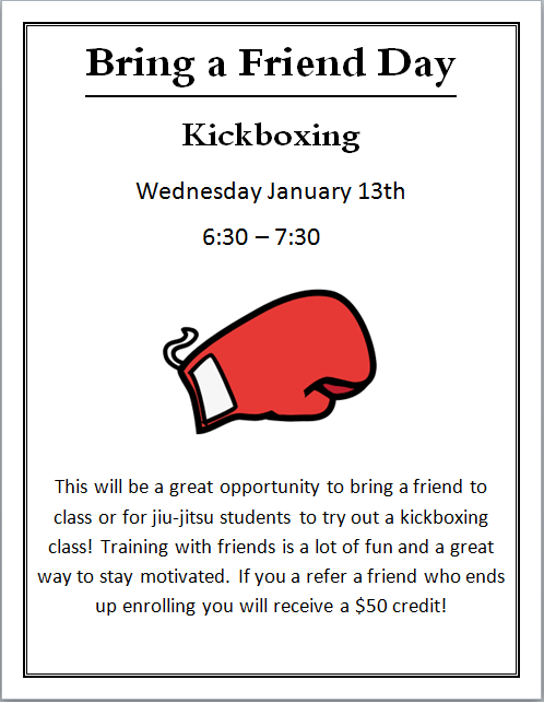 bring a friend day kickboxing image